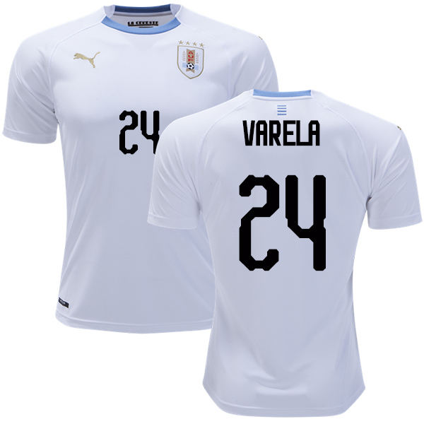 Uruguay #24 Varela Away Soccer Country Jersey