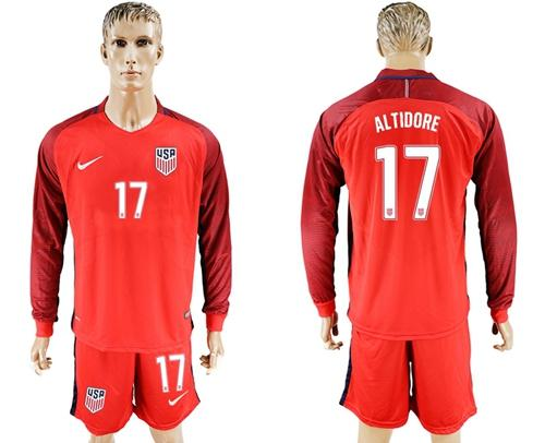 USA #17 Altidore Away Long Sleeves Soccer Country Jersey