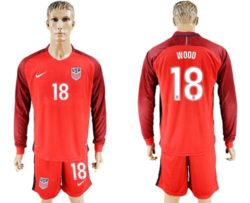 USA #18 Wood Away Long Sleeves Soccer Country Jersey
