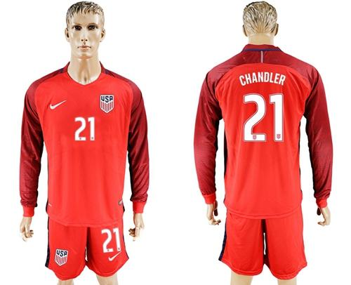 USA #21 Chandler Away Long Sleeves Soccer Country Jersey