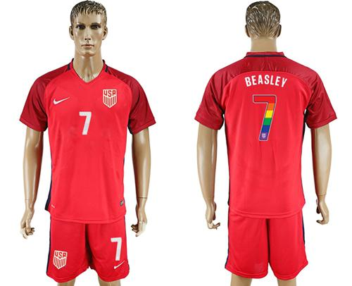 USA #7 Beasley Red Rainbow Soccer Country Jersey
