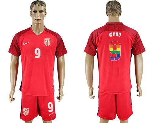 USA #9 Wood Red Rainbow Soccer Country Jersey