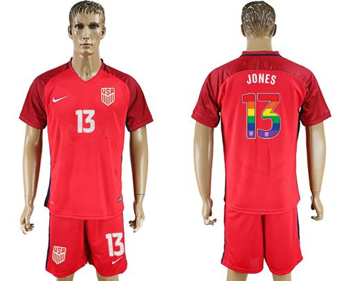 USA #13 Jones Red Rainbow Soccer Country Jersey