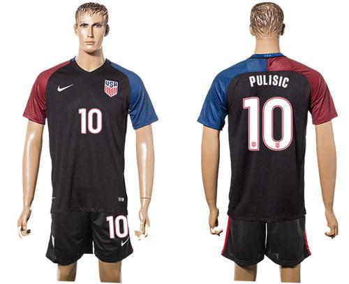 USA #10 Pulisic Black Soccer Country Jersey