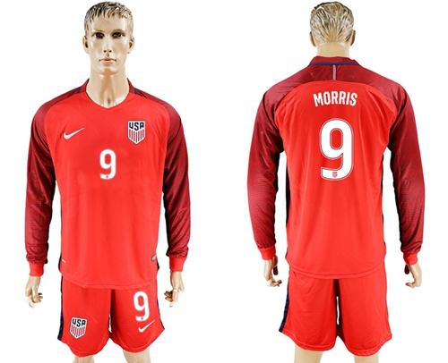USA #9 Morris Away Long Sleeves Soccer Country Jersey