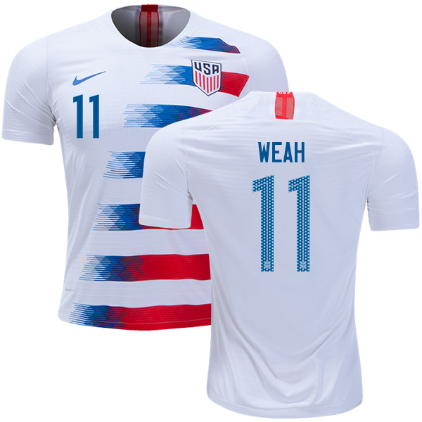 USA #11 Weah Home Soccer Country Jersey