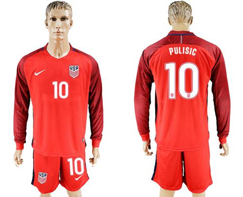 USA #10 Pulisic Away Long Sleeves Soccer Country Jersey