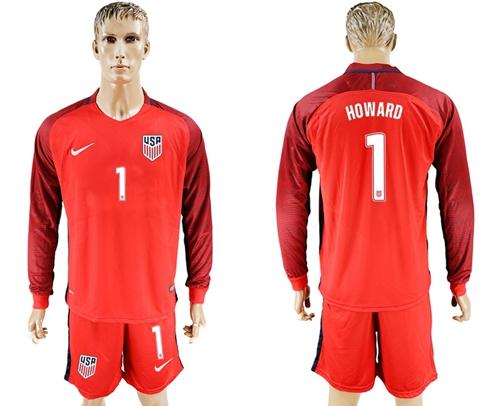 USA #1 Howard Away Long Sleeves Soccer Country Jersey
