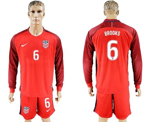 USA #6 Brooks Away Long Sleeves Soccer Country Jersey