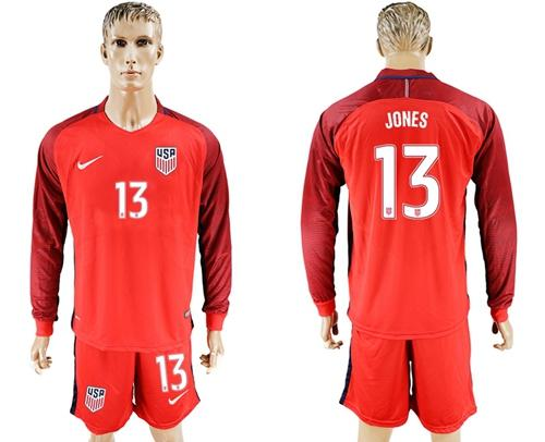 USA #13 Jones Away Long Sleeves Soccer Country Jersey