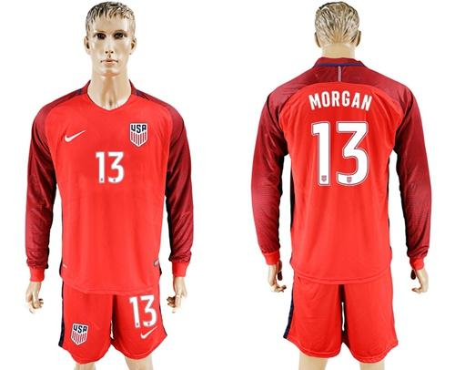 USA #13 Morgan Away Long Sleeves Soccer Country Jersey