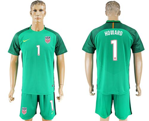 USA #1 Howard Green Goalkeeper Soccer Country Jersey