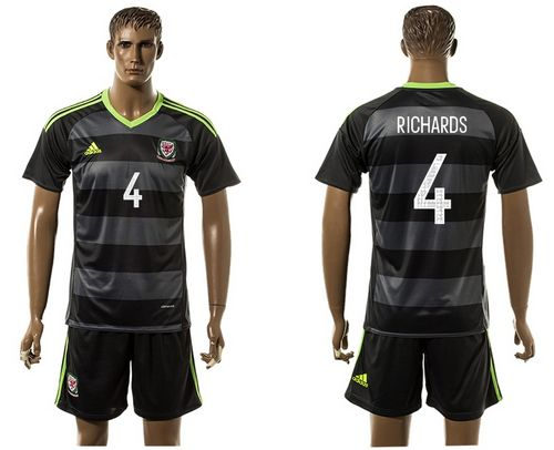 Wales #4 Richards Black Away Soccer Club Jersey