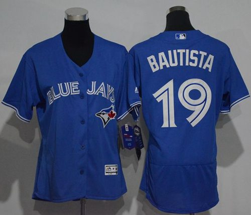 Blue Jays #19 Jose Bautista Blue Flexbase Authentic Women's Stitched MLB Jersey