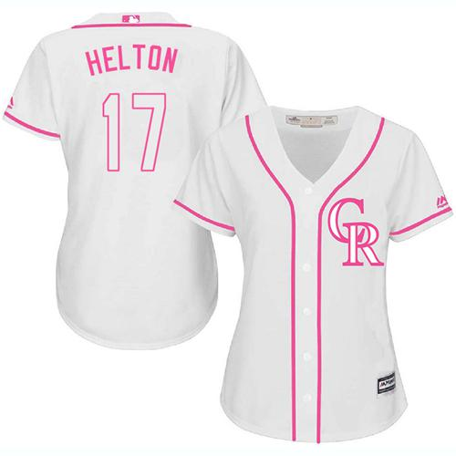 Rockies #17 Todd Helton White/Pink Fashion Women's Stitched MLB Jersey