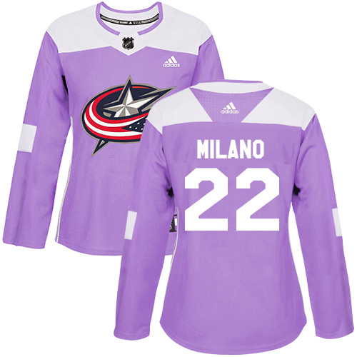Adidas Blue Jackets #22 Sonny Milano Purple Authentic Fights Cancer Women's Stitched NHL Jersey