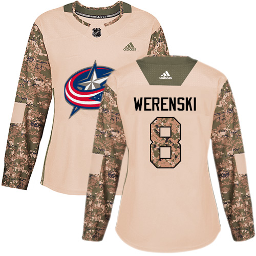 Adidas Blue Jackets #8 Zach Werenski Camo Authentic Veterans Day Women's Stitched NHL Jersey