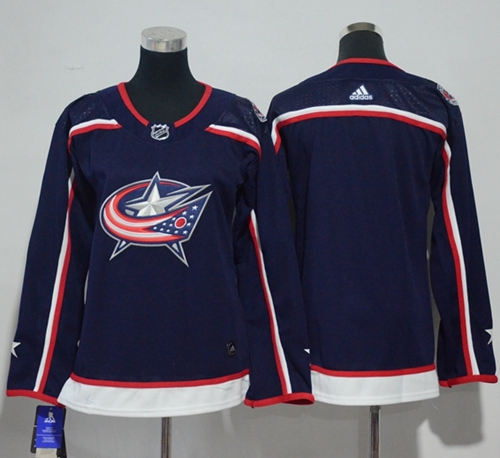 Adidas Blue Jackets Blank Navy Blue Home Authentic Women's Stitched NHL Jersey