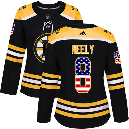 Adidas Bruins #8 Cam Neely Black Home Authentic USA Flag Women's Stitched NHL Jersey