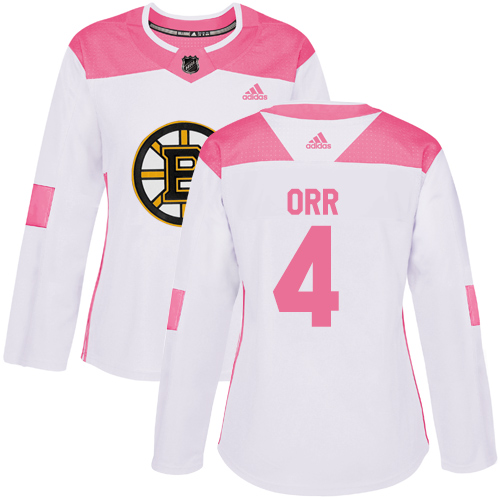 Adidas Bruins #4 Bobby Orr White/Pink Authentic Fashion Women's Stitched NHL Jersey