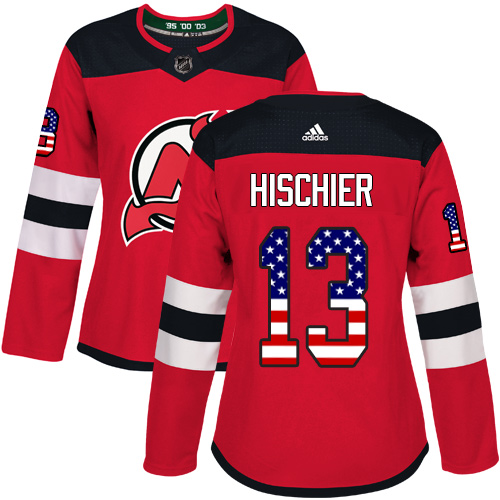 Adidas Devils #13 Nico Hischier Red Home Authentic USA Flag Women's Stitched NHL Jersey