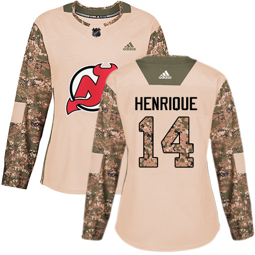 Adidas Devils #14 Adam Henrique Camo Authentic Veterans Day Women's Stitched NHL Jersey