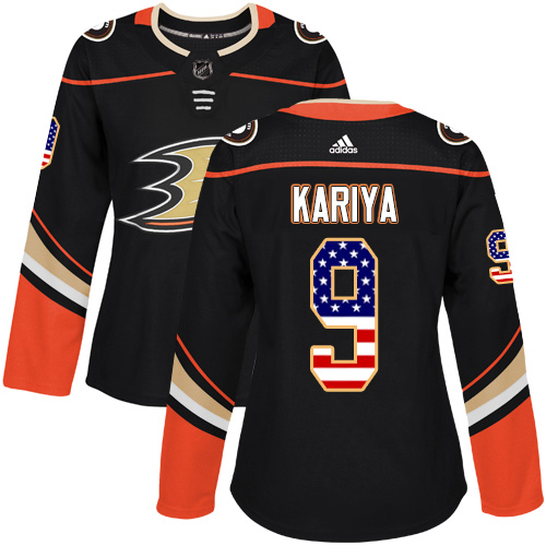 Adidas Ducks #9 Paul Kariya Black Home Authentic USA Flag Women's Stitched NHL Jersey