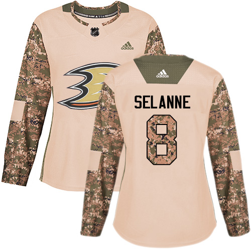 Adidas Ducks #8 Teemu Selanne Camo Authentic Veterans Day Women's Stitched NHL Jersey