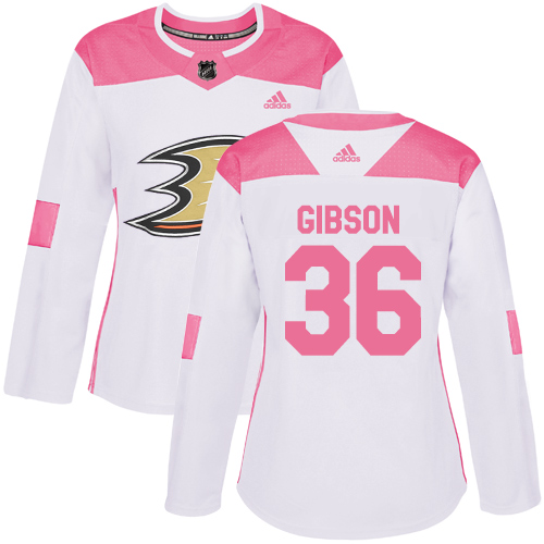 Adidas Ducks #36 John Gibson White/Pink Authentic Fashion Women's Stitched NHL Jersey
