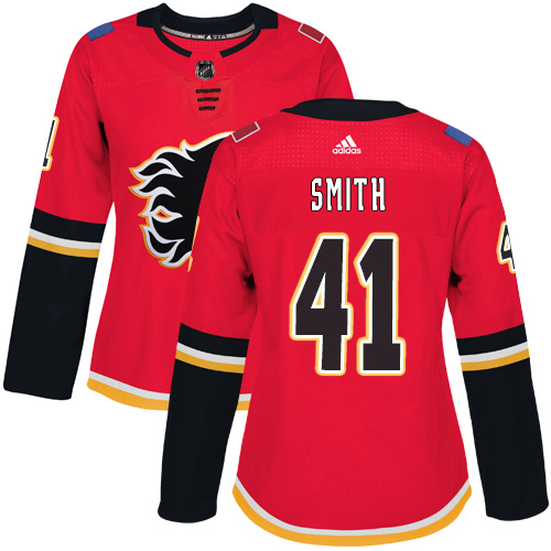 Adidas Flames #41 Mike Smith Red Home Authentic Women's Stitched NHL Jersey