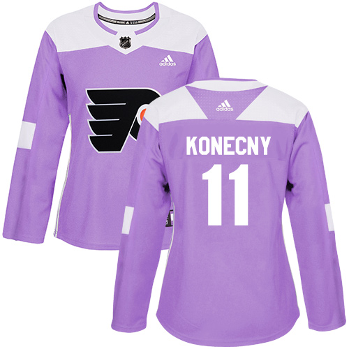 Adidas Flyers #11 Travis Konecny Purple Authentic Fights Cancer Women's Stitched NHL Jersey
