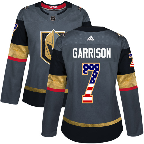 Adidas Golden Knights #7 Jason Garrison Grey Home Authentic USA Flag Women's Stitched NHL Jersey