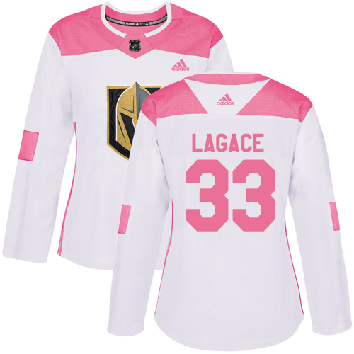 Adidas Golden Knights #33 Maxime Lagace White/Pink Authentic Fashion Women's Stitched NHL Jersey