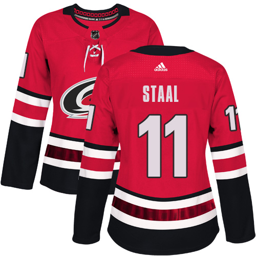 Adidas Hurricanes #11 Jordan Staal Red Home Authentic Women's Stitched NHL Jersey