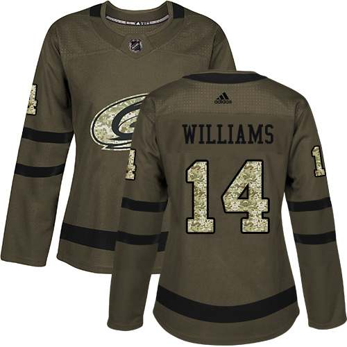 Adidas Hurricanes #14 Justin Williams Green Salute to Service Women's Stitched NHL Jersey