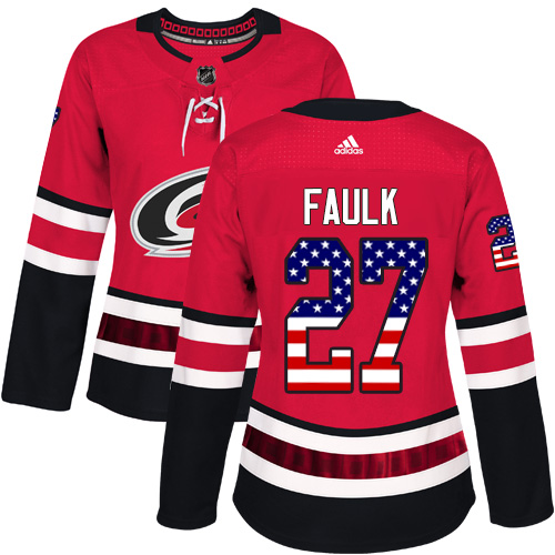 Adidas Hurricanes #27 Justin Faulk Red Home Authentic USA Flag Women's Stitched NHL Jersey