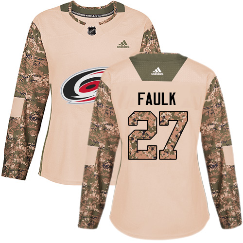 Adidas Hurricanes #27 Justin Faulk Camo Authentic Veterans Day Women's Stitched NHL Jersey