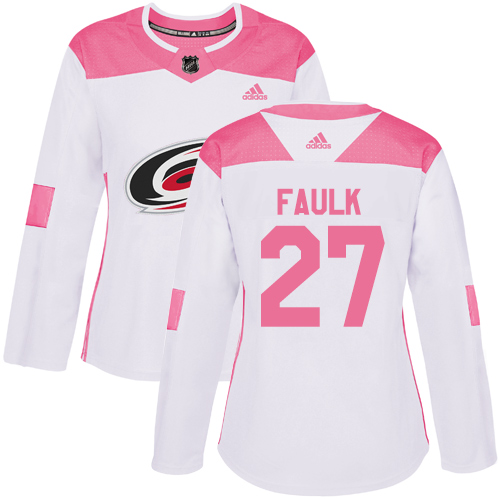 Adidas Hurricanes #27 Justin Faulk White/Pink Authentic Fashion Women's Stitched NHL Jersey