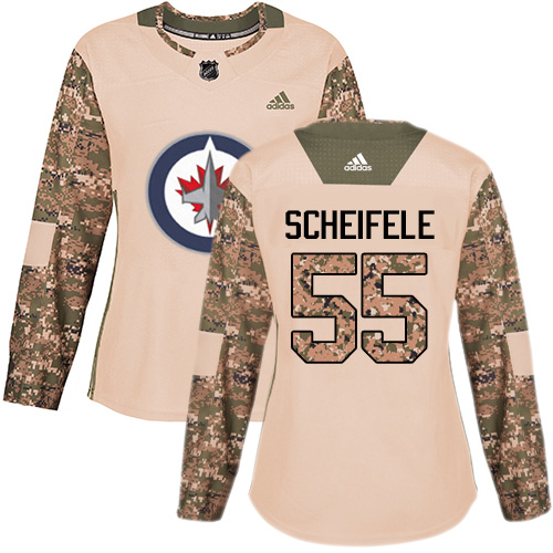 Adidas Jets #55 Mark Scheifele Camo Authentic Veterans Day Women's Stitched NHL Jersey