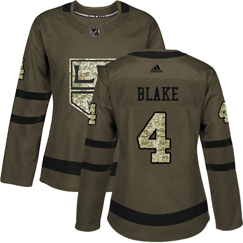 Adidas Kings #4 Rob Blake Green Salute to Service Women's Stitched NHL Jersey