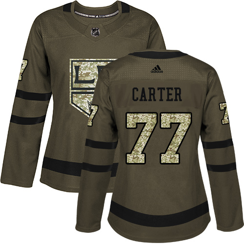 Adidas Kings #77 Jeff Carter Green Salute to Service Women's Stitched NHL Jersey