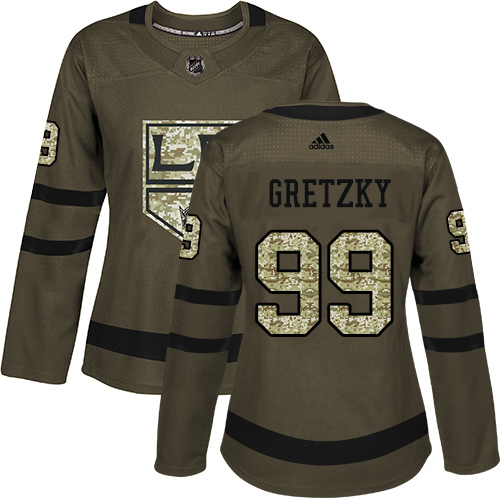 Adidas Kings #99 Wayne Gretzky Green Salute to Service Women's Stitched NHL Jersey