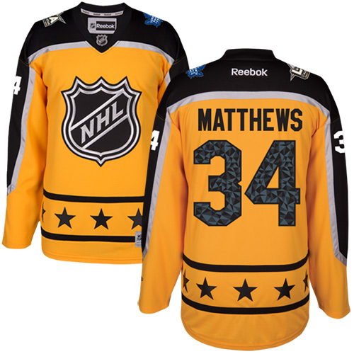 Maple Leafs #34 Auston Matthews Yellow All-Star Atlantic Division Women's Stitched NHL Jersey