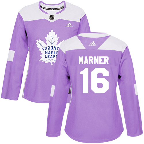 Adidas Maple Leafs #16 Mitchell Marner Purple Authentic Fights Cancer Women's Stitched NHL Jersey