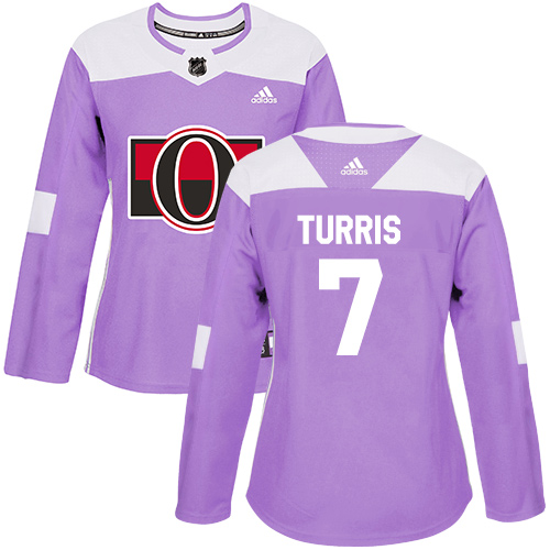Adidas Senators #7 Kyle Turris Purple Authentic Fights Cancer Women's Stitched NHL Jersey