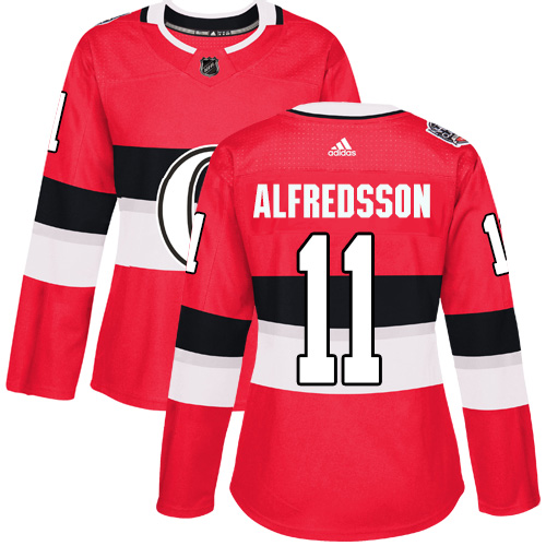 Adidas Senators #11 Daniel Alfredsson Red Authentic 100 Classic Women's Stitched NHL Jersey