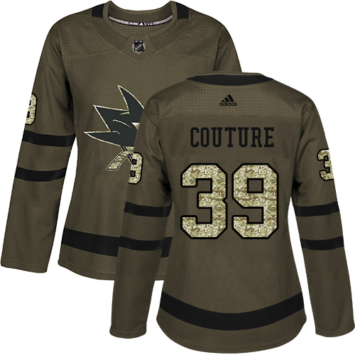 Adidas Sharks #39 Logan Couture Green Salute to Service Women's Stitched NHL Jersey