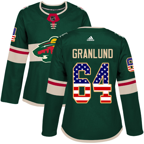 Adidas Wild #64 Mikael Granlund Green Home Authentic USA Flag Women's Stitched NHL Jersey