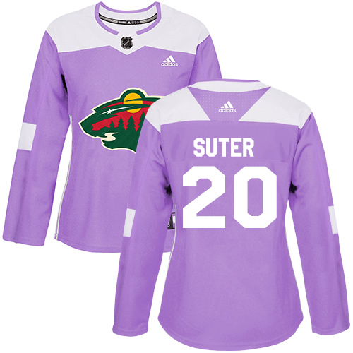 Adidas Wild #20 Ryan Suter Purple Authentic Fights Cancer Women's Stitched NHL Jersey
