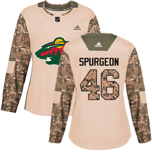 Adidas Wild #46 Jared Spurgeon Camo Authentic Veterans Day Women's Stitched NHL Jersey